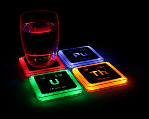 #Radioactive Elements Glowing Coaster Set  Featuring the #atomic number and isotopic mass of the most stable or common isotope for their respective radioactive elements, these pressure-sensitive #coasters light up when you put your #drink on them.