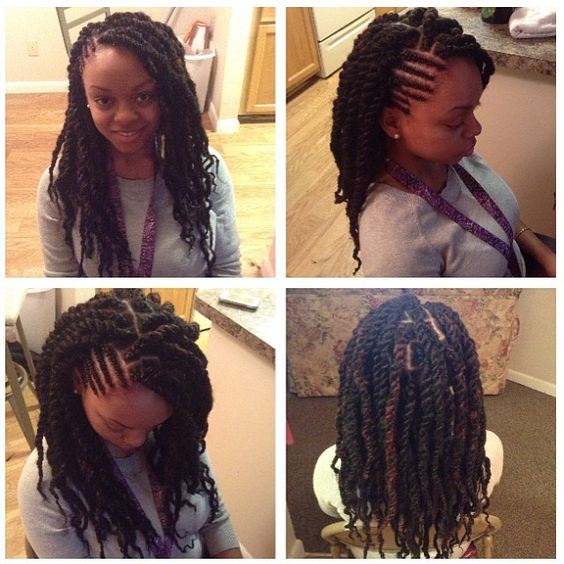 "Comment: nymphers said ""Havana Twists / Marley Twists $50. #havanatwists #havana #marleytwists #marley #baja #bajatwists #bahatwists #protectivestyles #twostrandtwists #singles #twists #individuals #africanbraiding #braids #atlanta #georgia #senegal #african #braidedbun #bun #protectivestyles"""