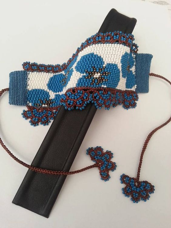 beaded crochet and double peyote beading bracelet: