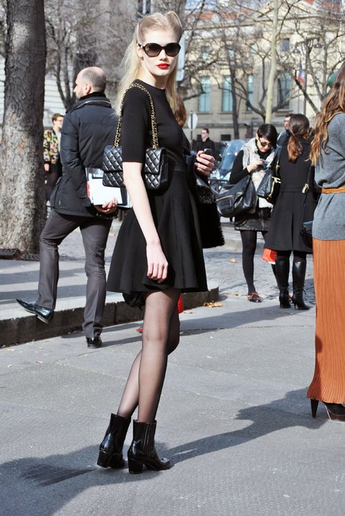 LBD + black quilted Chanel purse + black booties