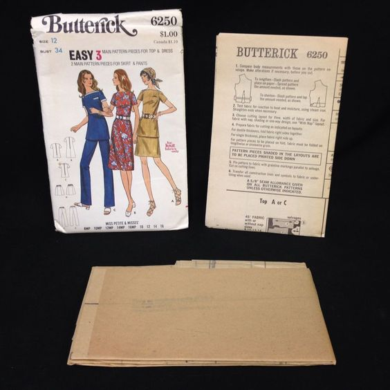 Uncut Butterick Pattern 6250 Miss Petite Misses 1 2 Piece Dress Top Pants VTG 12 #Butterick