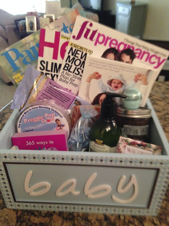 The perfect pregnancy gift basket! Filled with magazines, preggie pops, organic lotions and scrubs, and a few other personalized items for your friend or family member!