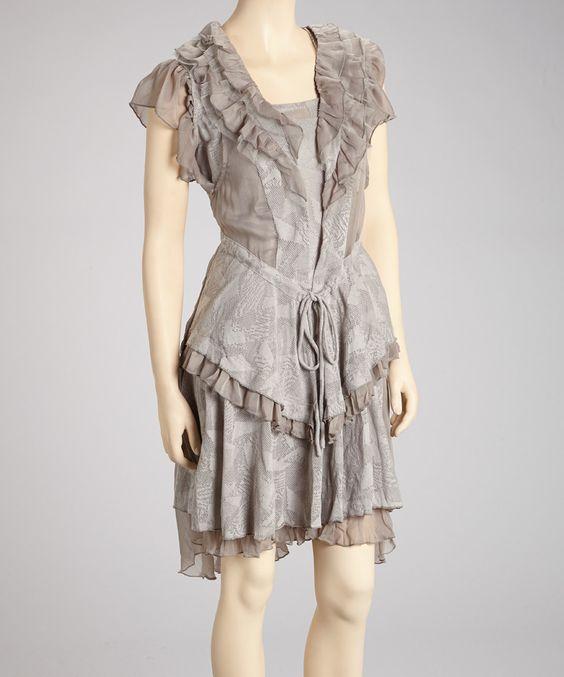 Another great find on #zulily! Fantazia Gray Ruffle Sleeveless Dress - Women by Fantazia #zulilyfinds