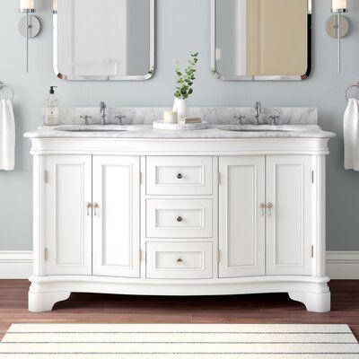 Birch Lane Rayshawn 60 Double Bathroom Vanity Set In 2021 Double Vanity Bathroom Bathroom Vanity Double Bathroom Vanity