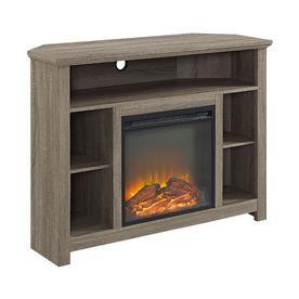 Walker Edison Highboy Driftwood Rectangular Fireplace W44fphbcag