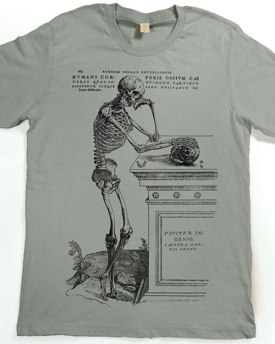 Mens Shirt - Skeleton T-shirt - Skull Tshirt - graphic t shirt  A skeleton meditating on a skull lying on a funerary monument, with Latin