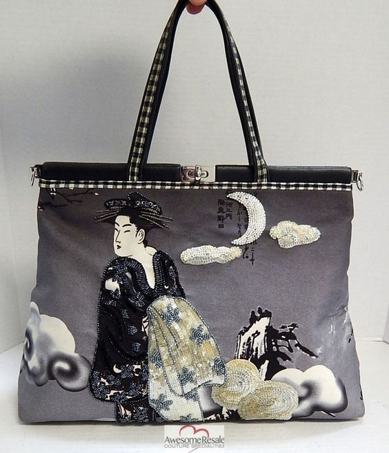 Isabella Fiore Geisha Themed Canvas Beaded Leather Large Tote Bag