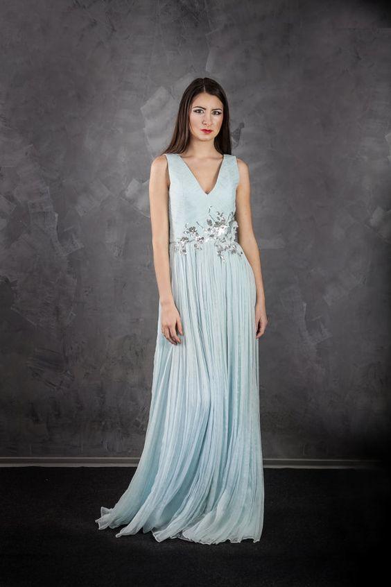 Boho Wedding Dress Long Silk Engagement Prom Pleated
