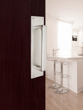 Modern Push Pull Plate With Baden Door Handle In Satin Nickel