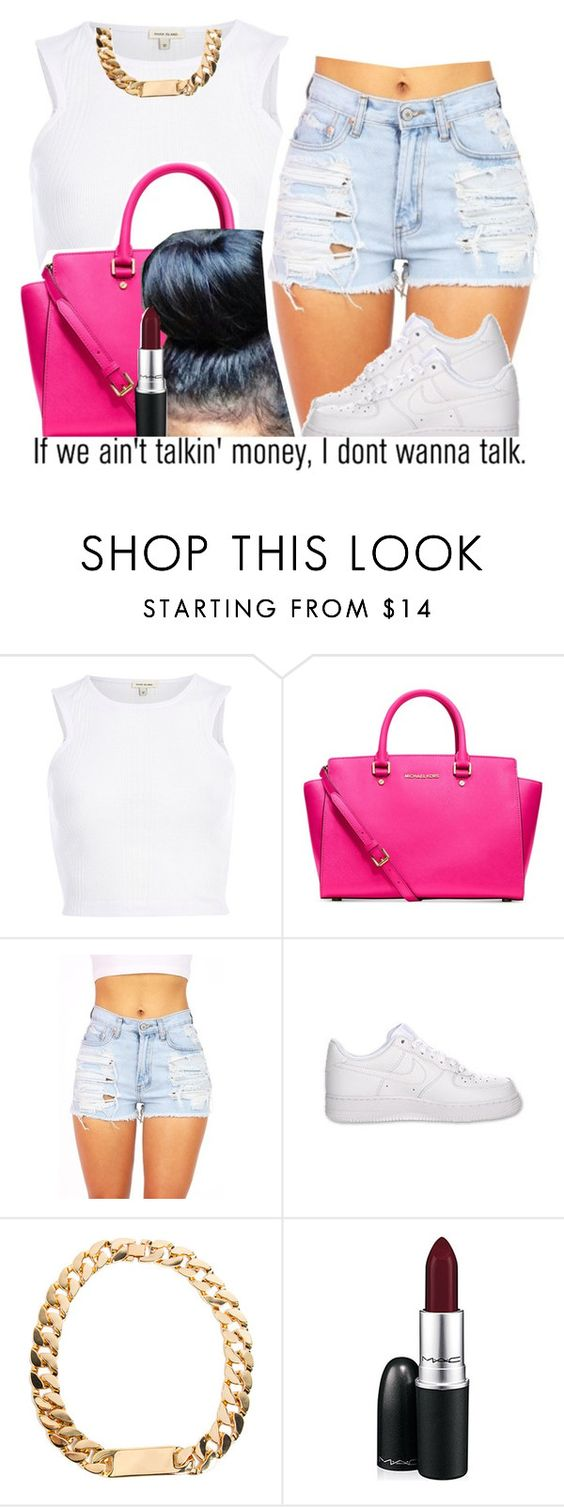 """Talk Is Cheap"" by dajvuuloaf ❤ liked on Polyvore featuring River Island, Michael Kors, NIKE, MAC Cosmetics and AG Adriano Goldschmied"