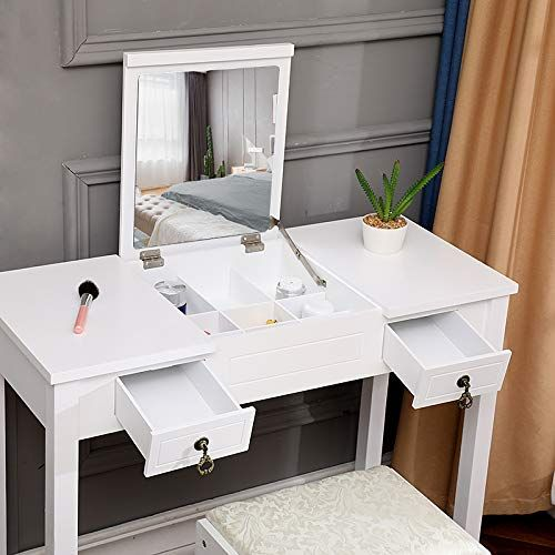 Xindream White Flip Single Mirror 2 Drawer Dressing Table Dressing Vanity And Desk C In 2020 Dressing Table Writing Desk Dressing Table Vanity 2 Drawer Dressing Table
