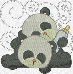 Embroidery Design Sleeping Baby Animals: Baby Pandas, Embroidery, Embroidery Design, Baby Animals, Panda Quilt