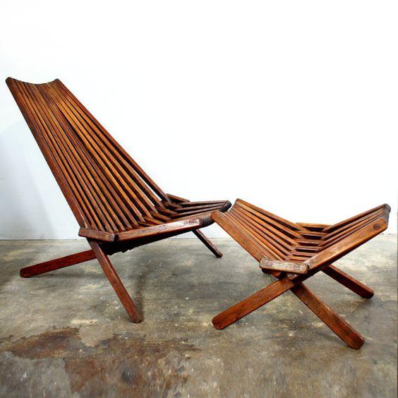 Folding Outdoor Lounge With Ottoman ~ Mid century modern teak lounge chair rare ottoman