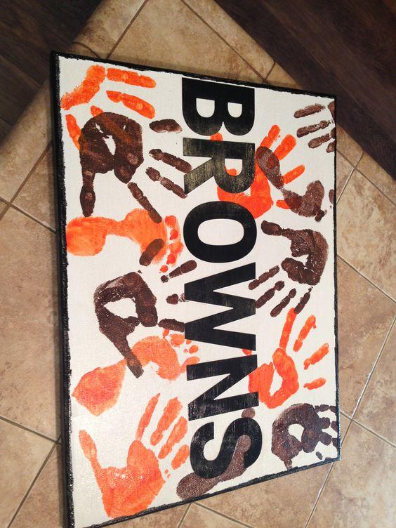 Cleveland Browns- kids handprint art project