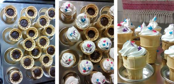 Bolo na casquinha. http://valeriaderossi.blogspot.com.br/2015/02/decoracao-de-sorvete-faca-voce-mesma.html