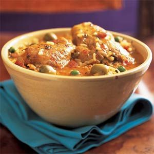 Cooking Light - The Puerto Rican dish asopao de pollo, a cross between soup and paella, is an easy, hearty one-dish meal featuring juicy chicken thighs, diced lean ham, rice, and assorted seasonings.
