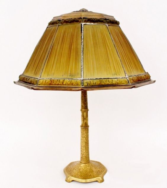 Tiffany Favrile Glass & Gilt Bronze Linenfold Lamp : Lot 477