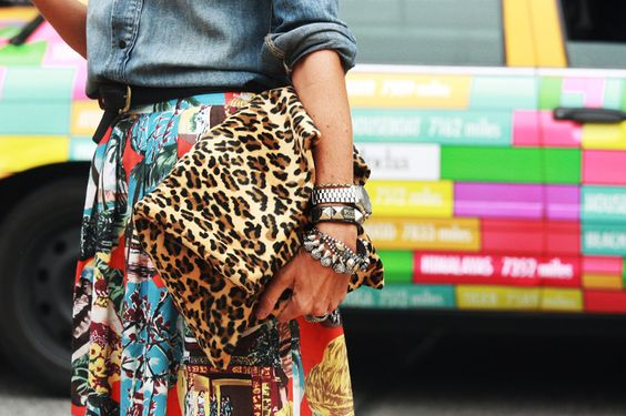 Copy mix up - leopard, many bracelets, including big watch, print vintage skirt, denim shirt.