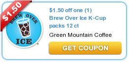 $1.50 off one (1) Brew Over Ice K-Cup packs 12 ct  New coupons and deals for active seniors daily at www.SeniorSpotChicago.com