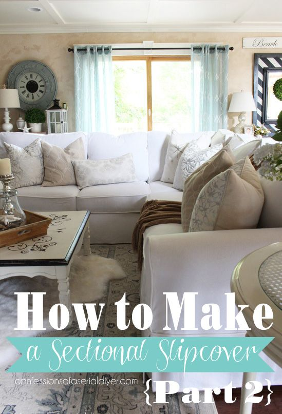 This is part two of a two-part sectional slipcover tutorial. Part two covers how to sew cushion covers with zippers. Confessions of a Serial Do-it-Yourselfer