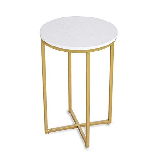 Tall Coffee Table Wrought Iron Side Table Round Marble Panel