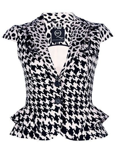 Black and white stretch cotton blend waistcoat from MCQ by Alexander McQueen