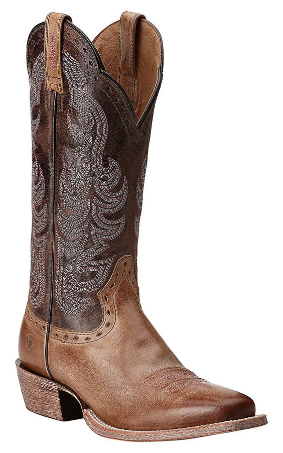 Ariat Women's Good Times Gunsmoke with Matte Chocolate Square Toe ...
