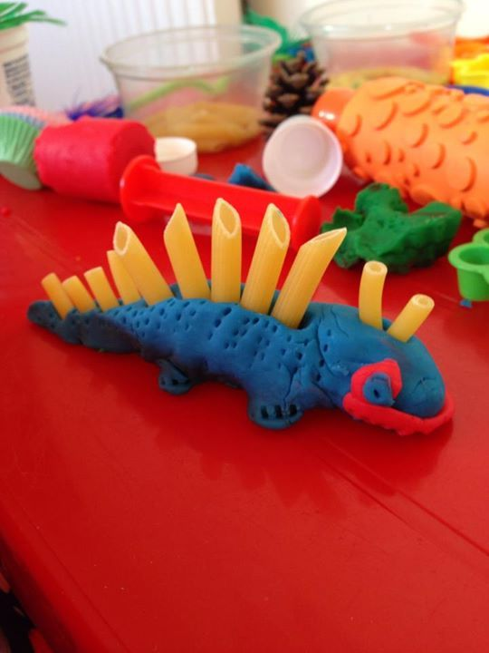 """Pasta & play dough dinosaur from Passionate About Play ("""","""