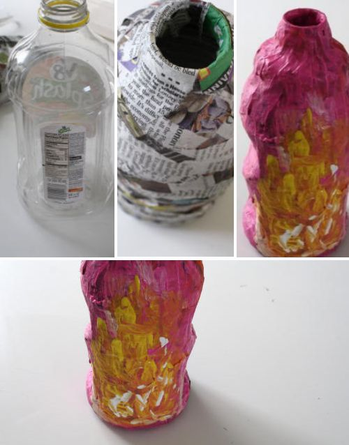Paper mache kid vase kiddos pinterest end of bottle for Plastic bottle vase craft