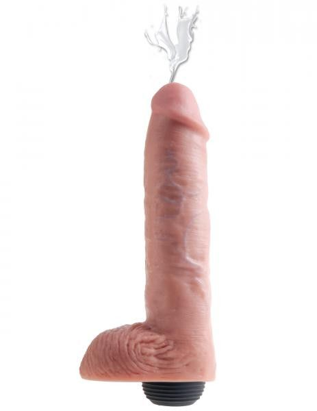 How to use King Cock Squirting Dildo 11 Inches Beige. This is a squirting dildo to satisfy your fantasies, with 9 inches of insertable length on an 11 inch frame.