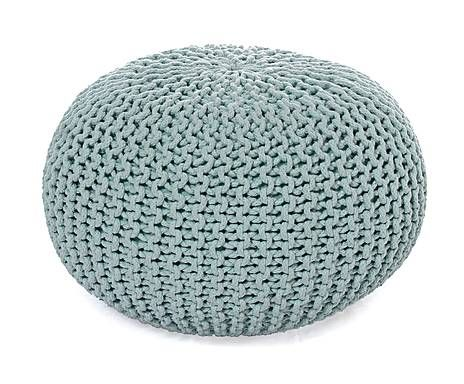 Gebreide poef Bini, mintgroen, diameter 55 cm