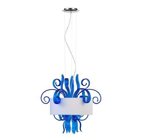 "Jellyfish 3-Light 22"" Blue Blown Glass Cassina Pendant with A White Dupioni Shade 04395"