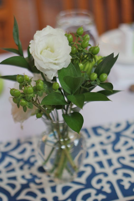 Perfect little arrangements made with white Lisianthus.  Compliments of Wegmans.