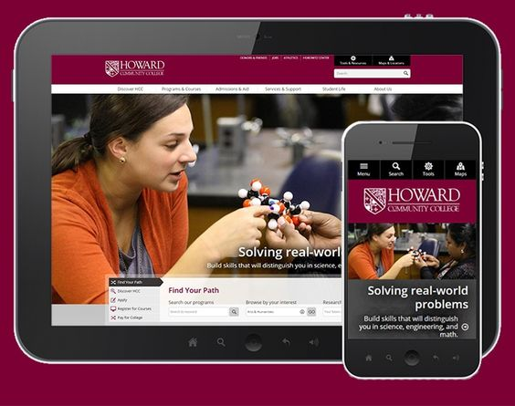 Howard Community College earned a SILVER award in the Website: Institutional Home Page category.