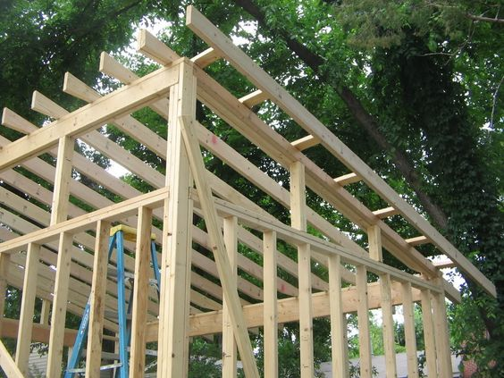 Garden shed with slant roof single slope roof shed for How to build a sloped roof shed