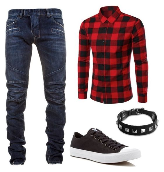 """set4"" by mureet ❤ liked on Polyvore featuring Balmain, Converse, Valentino, men's fashion and menswear"