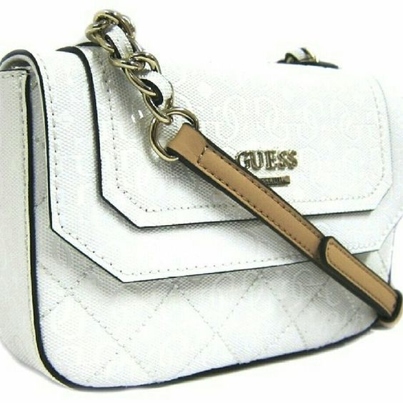 GUESS Romeo Crossbody-White 4G logo Faux leather accented with pale shiny gold-tone hardware and front slip pocket Adjustable crossbody strap with 23in drop: Interior features 1 slip pocket Measurements: L 7x H 5x W 1 Guess Bags Crossbody Bags
