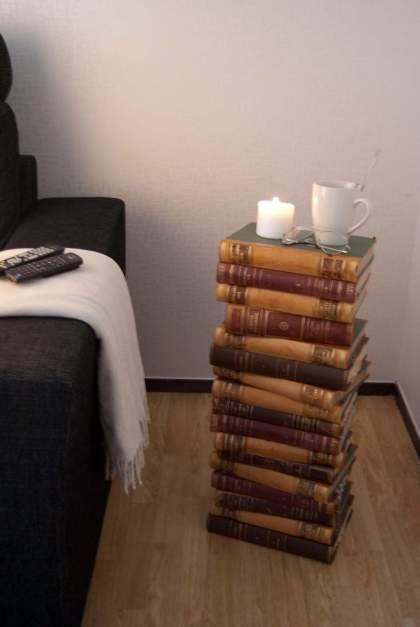 A furniture of old books. Manufactured using some glue. A fine idea, I think.