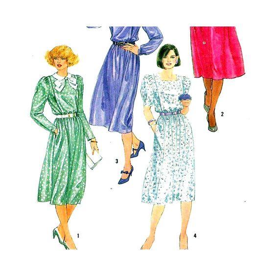 Simplicity 6489 Vintage Sewing Pattern Misses Dress Size 12 Uncut
