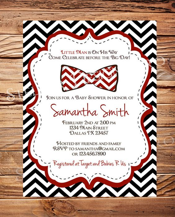 Baby shower Invitation boy, Bow Ties Baby Boy Shower, Red, Green, Teal, Black, Chevron Stripes Bow Tie Baby Boy Shower, Printable. $20.00, via Etsy.