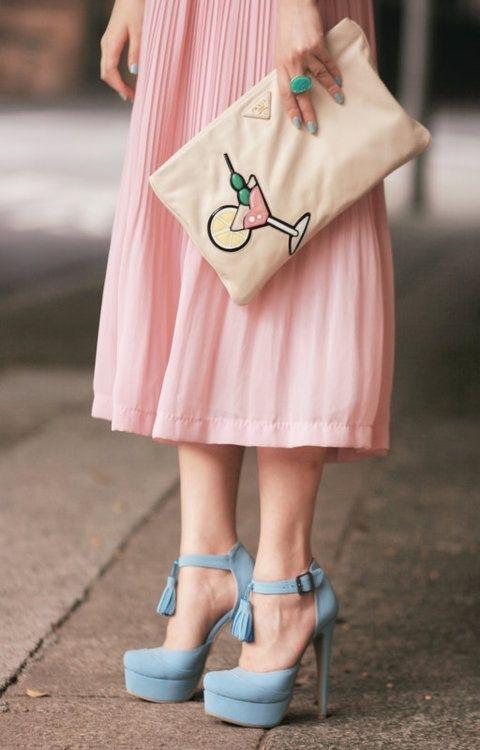 prada small bag nylon - Martini �C Prada martini clutch, rose pleated skirt, pastel blue ...