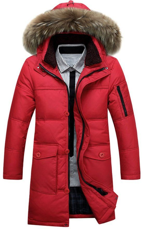 Galsang Men's Winter Mid Long Thicken Hooded Down Jacket Coat ...