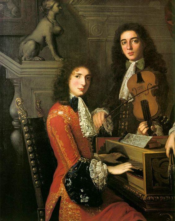 Three Musicians of the Medici Court, c.1687. Anton Domenico Gabbiani (1652-1726)