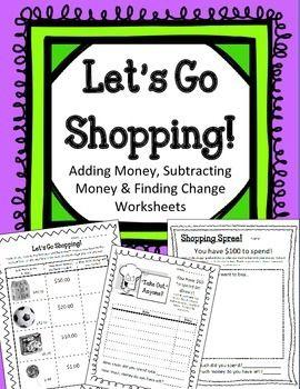 let 39 s go shopping adding subtracting money finding change worksheets centers student. Black Bedroom Furniture Sets. Home Design Ideas
