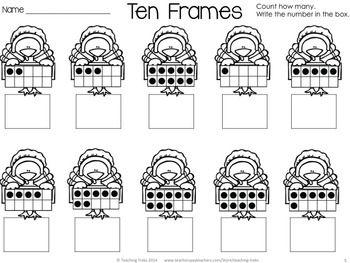 FREE Thanksgiving fun! Turkey Ten Frames! | Kindergarten math ...