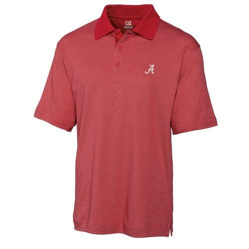 NCAA Men's Alabama Crimson Tide Cardinal Red Drytec Resolute Polo Tee, Large by Cutter & Buck. $29.19. This New Horizontal Texture Polo Features A Moisture Wicking Finish To Keep You Cool And Comfortable, And Is Constructed With A Double-Faced Collar, Three button Placket With Dyed-To-Match Buttons, Side Vents, Open Sleeves And A Back Half Moon. Tonal C&B Pennant Embroidery At Left Sleeve Hem.