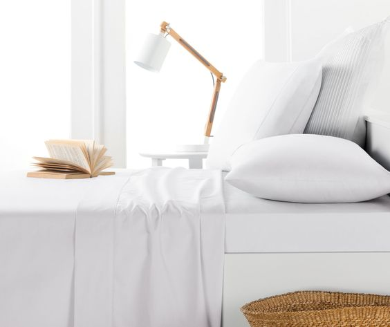 60% Off SALE (Until Stocks Last):: FITTED SHEET SET & EACHES :: 250TC PolyCotton Percale White