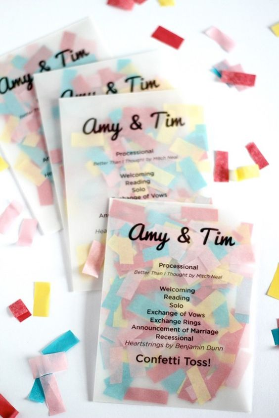 Fun Wedding DIY - Create a wedding program with confetti for the ceremony toss!