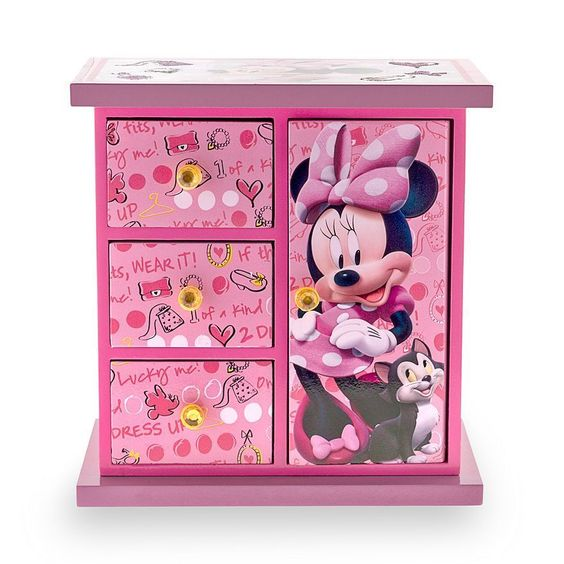 Disney minnie mouse armoire jewelry box in pink new for Minnie mouse jewelry box