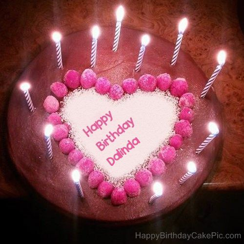 Dalinda Candles Heart Happy Birthday Cake With Name Happy